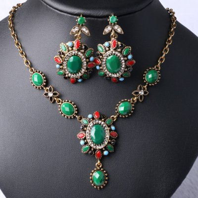 A Suit of Noble Faux Crystal Oval Flower Shape Necklace and Earrings For Women