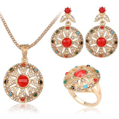 A Suit of Noble Faux Crystal Round Shape Necklace Ring and Earrings For Women
