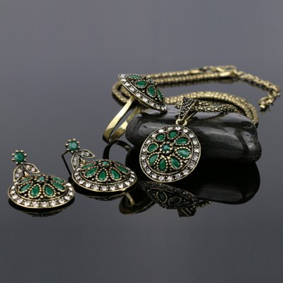A Suit of Noble Faux Gemstone Round Shape Necklace Ring and Earrings For WomenNecklaces &amp; Pendants<br>A Suit of Noble Faux Gemstone Round Shape Necklace Ring and Earrings For Women<br><br>Item Type: Pendant Necklace<br>Gender: For Women<br>Style: Trendy<br>Shape/Pattern: Round<br>Weight: 0.17KG<br>Package Contents: 1 x Necklace 1 x Ring 1 x Earring(Pair)
