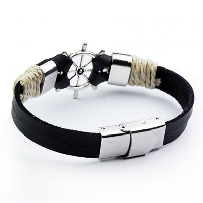 Trendy Helm Shape Faux Leather Chain Bracelet For Men