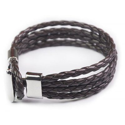 Stylish Layered Faux Leather Chain Hand Knitting Bracelet For Men