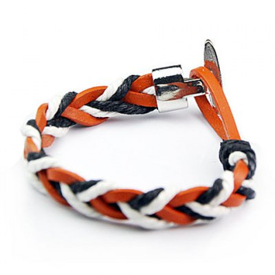 Trendy Stitching Color Faux Leather Chain Bracelet For Men