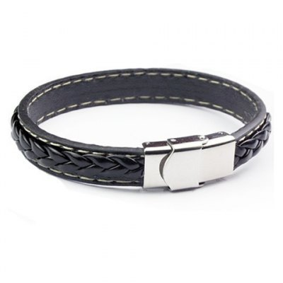 Faddish Faux Leather Chain Hand Knitting Bracelet For Men