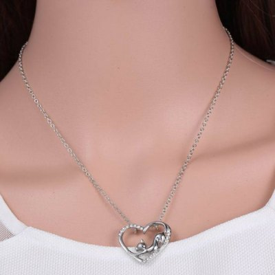 Cute Love Heart Hollow Out Kitten Pendant Necklace For Women