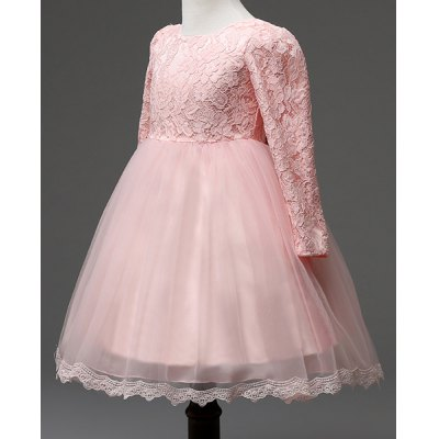 Sweet Long Sleeve Round Neck Spliced Ball Gown Girl's Dress