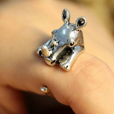 Cute Rhino Shape Cuff Ring For Women