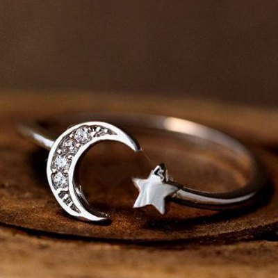 Cute Rhinestone Moon Star Shape Cuff Ring For WomenRings<br>Cute Rhinestone Moon Star Shape Cuff Ring For Women<br><br>Gender: For Women<br>Metal Type: Alloy<br>Style: Trendy<br>Shape/Pattern: Moon<br>Diameter: 1.7CM<br>Weight: 0.051KG<br>Package Contents: 1 x Ring