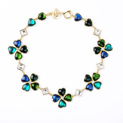 Graceful Faux Gemstone Artificial Crystal Heart Necklace For Women