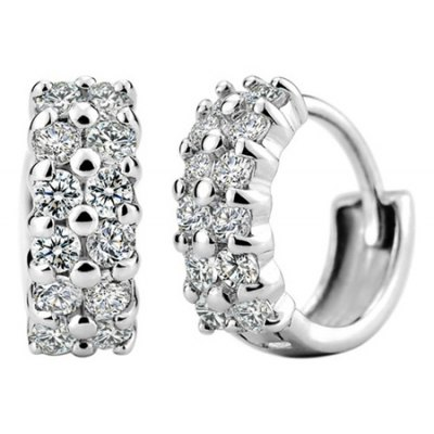 Pair of Charming Rhinestone Circular Earrings For Women