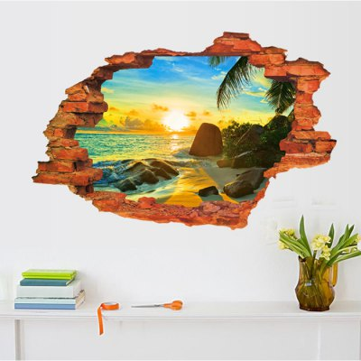 3D Sunrise Seascape Style Wall Stickers
