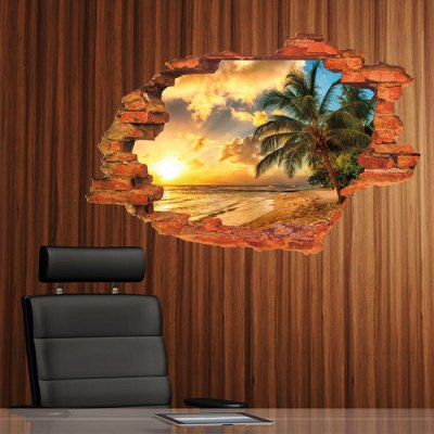 3D Sunset Seascape Style Wall Stickers