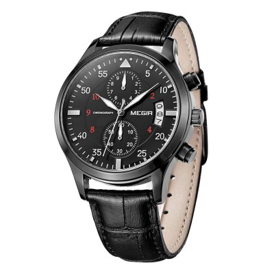MEGIR 3780 Genuine Leather Band Men Japan Quartz WatchMens Watches<br>MEGIR 3780 Genuine Leather Band Men Japan Quartz Watch<br><br>Brand: MEGIR<br>Watches categories: Male table<br>Watch style: Business<br>Available color: Black, Green, Brown, Gold and Black<br>Movement type: Quartz watch<br>Shape of the dial: Round<br>Display type: Analog<br>Case material: Steel<br>Band material: Genuine leather<br>Clasp type: Pin buckle<br>Special features: Date, Working small two stitches<br>The dial thickness: 1.1 cm / 0.43 inches<br>The dial diameter: 4.3 cm / 1.69 inches<br>The band width: 1.9 cm / 0.75 inches<br>Product weight: 0.057 kg<br>Package weight: 0.087 kg<br>Product size (L x W x H): 24.3 x 4.3 x 1.1 cm / 9.55 x 1.69 x 0.43 inches<br>Package size (L x W x H): 25.3 x 5.3 x 2.1 cm / 9.94 x 2.08 x 0.83 inches<br>Package contents: 1 x MEGIR 3780 Watch