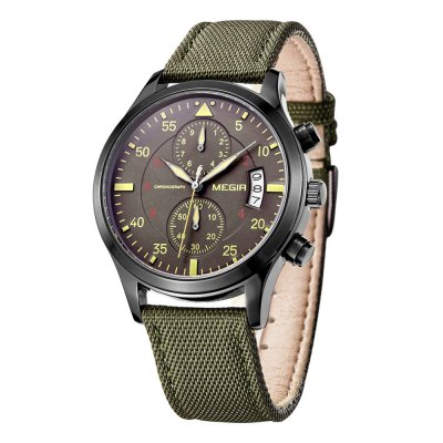 MEGIR 3780 Canvas + Leather Band Men Japan Quartz WatchMens Watches<br>MEGIR 3780 Canvas + Leather Band Men Japan Quartz Watch<br><br>Brand: MEGIR<br>Watches categories: Male table<br>Watch style: Business<br>Available Color: Black,Brown,Gold and Black,Green<br>Movement type: Quartz watch<br>Shape of the dial: Round<br>Display type: Analog<br>Case material: Steel<br>Band material: Genuine Leather<br>Clasp type: Pin buckle<br>Special features: Date,Working small two stitches<br>The dial thickness: 1.1 cm / 0.43 inches<br>The dial diameter: 4.3 cm / 1.69 inches<br>The band width: 1.9 cm / 0.75 inches<br>Product weight: 0.057 kg<br>Package weight: 0.087 kg<br>Product size (L x W x H): 24.30 x 4.30 x 1.10 cm / 9.57 x 1.69 x 0.43 inches<br>Package size (L x W x H): 25.30 x 5.30 x 2.10 cm / 9.96 x 2.09 x 0.83 inches<br>Package Contents: 1 x MEGIR 3780 Watch