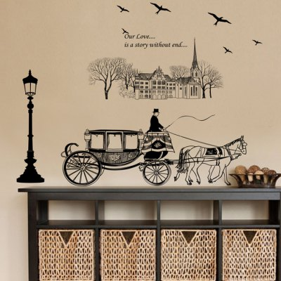 European Carriage Creative Street Lamp Style Wallpaper