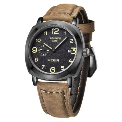 MEGIR 3783 Genuine Leather Band Men Japan Quartz Watch - MEGIRMens Watches<br>MEGIR 3783 Genuine Leather Band Men Japan Quartz Watch<br><br>Brand: MEGIR<br>Watches categories: Male table<br>Watch style: Business<br>Watch color: Brown and Black, Brown, Coffee, Coffee and Silver<br>Movement type: Quartz watch<br>Shape of the dial: Round<br>Display type: Analog<br>Case material: Alloy<br>Band material: Genuine leather<br>Clasp type: Pin buckle<br>Special features: Luminous, Moving small three stitches, Date<br>The dial thickness: 1.2 cm / 0.47 inches<br>The dial diameter: 4.1 cm / 1.61 inches<br>The band width: 2.0 cm / 0.79 inches<br>Product weight: 0.065 kg<br>Package weight: 0.095 kg<br>Product size (L x W x H): 25.3 x 4.1 x 1.2 cm / 9.94 x 1.61 x 0.47 inches<br>Package size (L x W x H): 26.3 x 5.1 x 2.2 cm / 10.34 x 2.00 x 0.86 inches<br>Package contents: 1 x MEGIR 3783 Watch