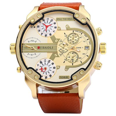 JUBAOLI 1068 Date Function Men Four Movt Quartz Watch - JubaoliMens Watches<br>JUBAOLI 1068 Date Function Men Four Movt Quartz Watch<br><br>Brand: Jubaoli<br>Watches categories: Male table<br>Watch style: Fashion<br>Style elements: Big dial<br>Watch color: Black, White, Black and Gold, Brown and Gold, Brown abd Black, Brown<br>Movement type: Multiple Movements<br>Shape of the dial: Round<br>Display type: Analog<br>Case material: Stainless Steel<br>Band material: Leather<br>Clasp type: Pin buckle<br>Special features: Decorating small sub-dials<br>The dial thickness: 1.3 cm / 0.51 inches<br>The dial diameter: 6.0 cm / 2.36 inches<br>The band width: 2.4 cm / 0.94 inches<br>Wearable length: 19 - 23 cm / 7.48 - 9.06 inches<br>Product weight: 0.105 kg<br>Package weight: 0.212 kg<br>Product size (L x W x H): 27.5 x 6 x 1.3 cm / 10.81 x 2.36 x 0.51 inches<br>Package size (L x W x H): 10.5 x 8 x 7 cm / 4.13 x 3.14 x 2.75 inches<br>Package Contents: 1 x JUBAOLI 1068 Watch, 1 x Box