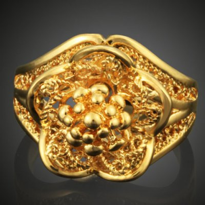 Exquisite Solid Color Hollow Out Flower Shape Ring For Women