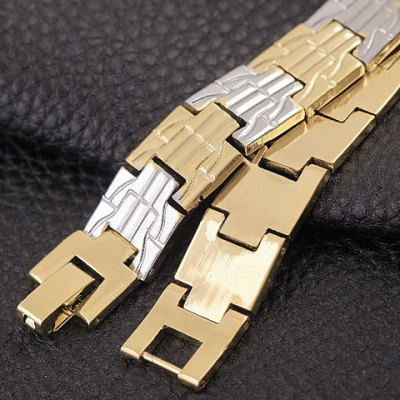 Noble Stitching Color Carving Box Chain Bracelet For Men