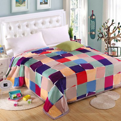 Quality Colorful Grid Pattern Household Flannel Blanket