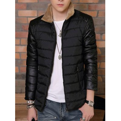 PU-Leather Spliced Zipper Pocket Fur Collar Long Sleeves Mens Thicken Padded CoatMens Jakets &amp; Coats<br>PU-Leather Spliced Zipper Pocket Fur Collar Long Sleeves Mens Thicken Padded Coat<br><br>Clothes Type: Padded<br>Material: Cotton Blends, Faux Leather<br>Collar: Stand Collar<br>Clothing Length: Regular<br>Style: Fashion<br>Weight: 1.15KG<br>Sleeve Length: Long Sleeves<br>Season: Winter<br>Package Contents: 1 x Coat