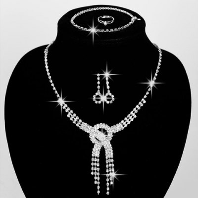 A Suit of Stylish Rhinestoned Round Hollow Out Necklace Ring Bracelet and Earrings For Women