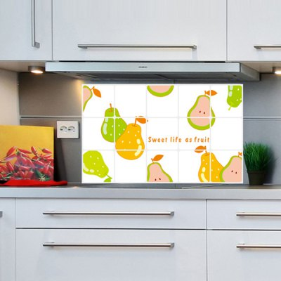 Pear Design Water Resistant Kitchen StickersWall Stickers<br>Pear Design Water Resistant Kitchen Stickers<br><br>Subjects: Landscape<br>Art Style: Plane Wall Stickers<br>Color Scheme: Multicolor<br>Functions: Decorative Wall Stickers<br>Hang In/Stick On: Bathroom,Living Rooms,Bedrooms,Nurseries,Offices,Cafes,Hotels,Toilet,Stair,Lobby,Kids Room<br>Material: Vinyl(PVC)<br>Layout Size (L x W): 75 x 45cm<br>Product weight: 0.040 kg<br>Package weight: 0.070 kg<br>Product size (L x W x H): 75 x 45 x 0.1 cm / 29.48 x 17.69 x 0.04 inches<br>Package size (L x W x H): 46 x 4 x 4 cm / 18.08 x 1.57 x 1.57 inches<br>Package Contents: 1 x Wall Sticker