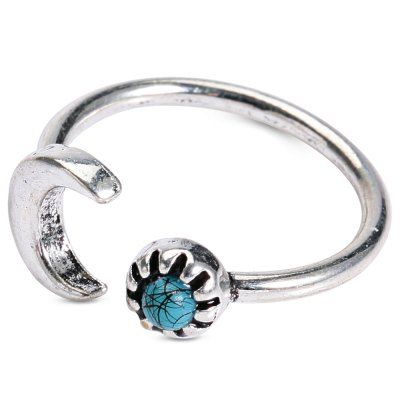Vintage Turquoise Moon Womens Cuff RingRings<br>Vintage Turquoise Moon Womens Cuff Ring<br><br>Gender: For Women<br>Metal Type: Alloy<br>Style: Classic<br>Shape/Pattern: Moon<br>Diameter: 1.8CM<br>Weight: 0.04KG<br>Package Contents: 1 x Ring