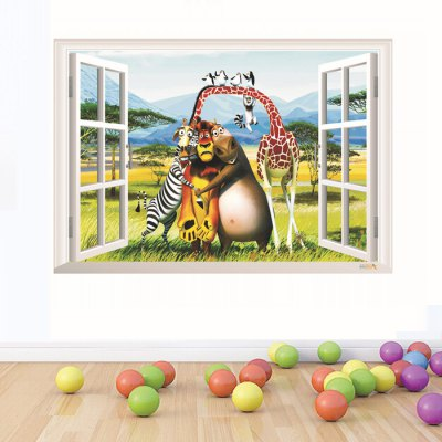 3D Madagascar Cartoon Style Window View Wall Stickers