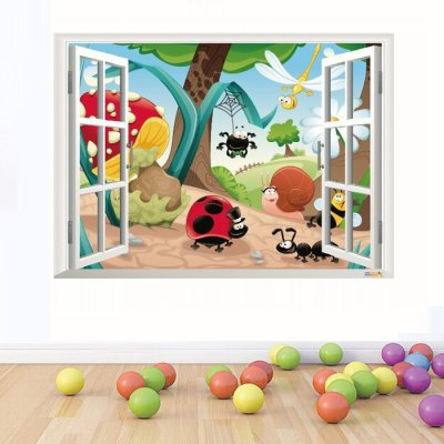 3D Insects Family Style Window View Wallpaper