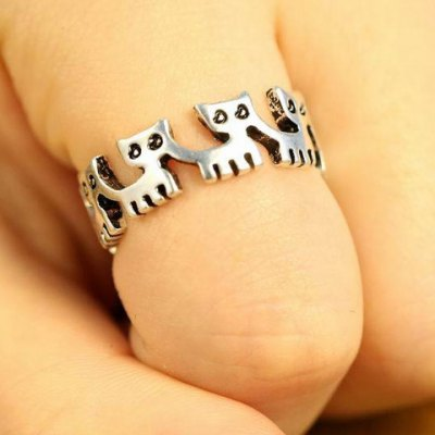 Chic Solid Color Kitten Shape Ring For Women