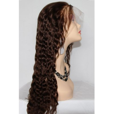Фотография Fluffy Deep Wave Lace Front Stunning Long Deep Brown Indian Human Hair Wig For Women