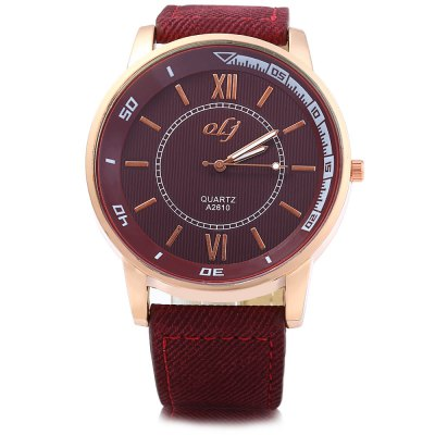OLJ A2610 Male Quartz Watch with Dual ScalesMens Watches<br>OLJ A2610 Male Quartz Watch with Dual Scales<br><br>Brand: OLJ<br>Watches categories: Male table<br>Watch style: Fashion<br>Available color: Blue,Brown,Deep Blue,Deep Red<br>Movement type: Quartz watch<br>Shape of the dial: Round<br>Display type: Analog<br>Case material: Stainless Steel<br>Band material: Canvas<br>Clasp type: Pin buckle<br>The dial thickness: 1.0 cm / 0.39 inches<br>The dial diameter: 4.7 cm / 1.85 inches<br>The band width: 2.2 cm / 0.87 inches<br>Wearable length: 17.5 - 22 cm / 6.89 - 8.66 inches<br>Product weight: 0.061 kg<br>Package weight: 0.111 kg<br>Product size (L x W x H): 25 x 4.7 x 1 cm / 9.83 x 1.85 x 0.39 inches<br>Package size (L x W x H): 26 x 5.7 x 2 cm / 10.22 x 2.24 x 0.79 inches<br>Package Contents: 1 x OLJ A2610 Watch