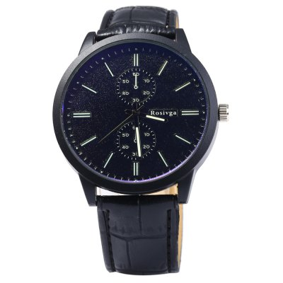 Rosivga 2222 Quartz Watch Decorative Sub-dials for MenMens Watches<br>Rosivga 2222 Quartz Watch Decorative Sub-dials for Men<br><br>Brand: Rosivga<br>Watches categories: Male table<br>Watch style: Fashion<br>Style elements: Stainless Steel<br>Available color: Black,White,Red,Blue,Green<br>Movement type: Quartz watch<br>Shape of the dial: Round<br>Display type: Analog<br>Case material: Stainless Steel<br>Band material: Leather<br>Clasp type: Pin buckle<br>Special features: Decorating small sub-dials<br>The dial thickness: 0.8 cm / 0.31 inches<br>The dial diameter: 4.5 cm / 1.77 inches<br>The band width: 1.8 cm / 0.71inches<br>Wearable length: 17 - 21 cm / 6.69 - 8.27 inches<br>Product weight: 0.043 kg<br>Package weight: 0.093 kg<br>Product size (L x W x H): 24 x 4.5 x 0.8 cm / 9.43 x 1.77 x 0.31 inches<br>Package size (L x W x H): 25 x 5.5 x 1.8 cm / 9.83 x 2.16 x 0.71 inches<br>Package Contents: 1 x Rosivga 2222 Quartz Watch