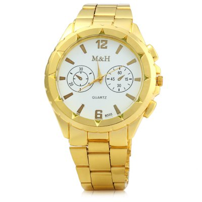 MH 8035 Male Quartz Watch with Golden CaseMens Watches<br>MH 8035 Male Quartz Watch with Golden Case<br><br>Brand: MH<br>Watches categories: Male table<br>Watch style: Fashion<br>Available color: White,Gold<br>Movement type: Quartz watch<br>Shape of the dial: Round<br>Display type: Analog<br>Case material: Stainless Steel<br>Band material: Stainless Steel<br>Clasp type: Folding clasp with safety<br>Special features: Decorating small sub-dials<br>The dial thickness: 1.0 cm / 0.39 inches<br>The dial diameter: 4.7 cm / 1.85 inches<br>The band width: 2.0 cm / 0.79 inches<br>Product weight: 0.085 kg<br>Package weight: 0.135 kg<br>Product size (L x W x H): 20 x 4.7 x 1 cm / 7.86 x 1.85 x 0.39 inches<br>Package size (L x W x H): 21 x 5.7 x 2 cm / 8.25 x 2.24 x 0.79 inches<br>Package Contents: 1 x MH 8035 Watch