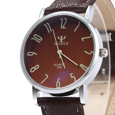 Yazole 299 Leather Band Men Quartz WatchMens Watches<br>Yazole 299 Leather Band Men Quartz Watch<br><br>Brand: Yazole<br>Watches categories: Male table<br>Watch style: Business<br>Movement type: Quartz watch<br>Shape of the dial: Round<br>Display type: Analog<br>Case material: Alloy<br>Band material: Leather<br>Clasp type: Pin buckle<br>Water resistance: Life water resistant<br>The dial thickness: 0.9 cm / 0.35 inches<br>The dial diameter: 3.8 cm / 1.49 inches<br>The band width: 2 cm / 0.79 inches<br>Wearable length: 18.5 - 22 cm / 7.28 - 8.66 inches<br>Product weight: 0.030 kg<br>Package weight: 0.10 kg<br>Product size (L x W x H): 23 x 3.8 x 0.9 cm / 9.04 x 1.49 x 0.35 inches<br>Package size (L x W x H): 24 x 4.8 x 1.9 cm / 9.43 x 1.89 x 0.75 inches<br>Package contents: 1 x Yazole 299 Watch