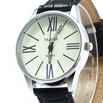 Yazole 315 Male Quartz Watch with Leather BandMens Watches<br>Yazole 315 Male Quartz Watch with Leather Band<br><br>Brand: Yazole<br>Watches categories: Male table<br>Watch style: Business<br>Movement type: Quartz watch<br>Shape of the dial: Round<br>Display type: Analog<br>Case material: Alloy<br>Band material: Leather<br>Clasp type: Pin buckle<br>Water resistance : 30 meters<br>The dial thickness: 1.2 cm / 0.47 inches<br>The dial diameter: 4.0 cm / 1.57 inches<br>The band width: 2.0 cm / 0.79 inches<br>Wearable length: 18 - 21.5 cm / 7.09 - 8.46 inches<br>Product weight: 0.039 kg<br>Package weight: 0.099 kg<br>Product size (L x W x H): 23 x 4 x 1.2 cm / 9.04 x 1.57 x 0.47 inches<br>Package size (L x W x H): 24 x 5 x 2.2 cm / 9.43 x 1.97 x 0.86 inches<br>Package Contents: 1 x Yazole 315 Watch