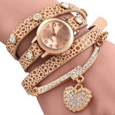 Rhinestone Heart Pendant Women Bracelet Quartz Wrist WatchWomens Watches<br>Rhinestone Heart Pendant Women Bracelet Quartz Wrist Watch<br><br>Watches categories: Female table<br>Available color: Black,White,Red,Brown,Orange,Yellow,Beige,Coffee<br>Style: Bracelet,Retro<br>Movement type: Quartz watch<br>Shape of the dial: Round<br>Display type: Analog<br>The bottom of the table: Ordinary<br>Case material: Alloy<br>Band material: Leather<br>Clasp type: Pin buckle<br>Band color: Multi-color<br>The dial thickness: 0.8 cm /0.31  inches<br>The dial diameter: 2.7 cm / 1.07 inches<br>The band width: 0.9 cm / 0.35  inches<br>Wearable length: 57 cm / 22.4 inches<br>Product weight: 0.034 kg<br>Package weight: 0.055 kg<br>Product size (L x W x H): 57.00 x 2.70 x 0.90 cm / 22.44 x 1.06 x 0.35 inches<br>Package size (L x W x H): 26.00 x 5.40 x 1.00 cm / 10.24 x 2.13 x 0.39 inches<br>Package Contents: 1 x Vintage Leopard Leather Wrap Bracelet Wrist Women Wrist Watch with Heart Pendant Rhinstone