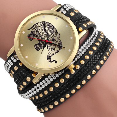 Woman Bracelet Quartz WatchWomens Watches<br>Woman Bracelet Quartz Watch<br><br>Watches categories: Female table<br>Available color: Black,White,Red,Blue,Green,Purple,Brown,Rose Red<br>Style: Bracelet<br>Movement type: Quartz watch<br>Shape of the dial: Round<br>Display type: Analog<br>Case material: Alloy<br>Band material: Leather<br>Clasp type: Buckle<br>Band color: Multi-color<br>The dial thickness: 0.7 cm / 0.27inches<br>The dial diameter: 4 cm /1.57 inches<br>The band width: 2.1 cm / 0.82 inches<br>Wearable length: 37.5 cm / 14.76 inches<br>Product weight: 0.020 kg<br>Package weight: 0.050 kg<br>Product size (L x W x H): 38.50 x 4.00 x 0.70 cm / 15.16 x 1.57 x 0.28 inches<br>Package size (L x W x H): 23.50 x 5.50 x 1.00 cm / 9.25 x 2.17 x 0.39 inches<br>Package Contents: 1 x Elephant Rivet Bracelet Braided Winding Wrap Women Wrist Quartz Watch
