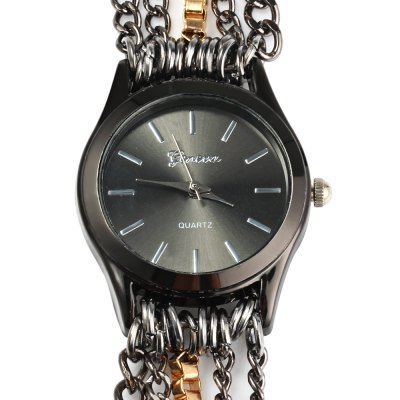 Alloy Chain Link Bracelet Women Quartz WristwatchWomens Watches<br>Alloy Chain Link Bracelet Women Quartz Wristwatch<br><br>Watches categories: Female table<br>Available color: Black, Gold, Silver<br>Style: Bracelet, Stainless steel<br>Movement type: Quartz watch<br>Shape of the dial: Round<br>Display type: Analog<br>Case material: Stainless steel<br>Band material: Alloys<br>Clasp type: Hook buckle<br>The dial thickness: 0.6  cm / 0.23 inches<br>The dial diameter: 2.8 cm / 1.1 inches<br>The band width: 1.8 cm / 0.7 inches<br>Wearable length: 27 cm / 10.62 inches<br>Product weight: 0.063 kg<br>Package weight: 0.105 kg<br>Product size (L x W x H) : 60 x 2.8 x 0.6 cm / 23.58 x 1.10 x 0.24 inches<br>Package size (L x W x H): 11 x 8.5 x 1 cm / 4.32 x 3.34 x 0.39 inches<br>Package contents: 1 x Woman Quartz Wristwatch Round Dial Analog Alloy Bracelet Wrist Link Band