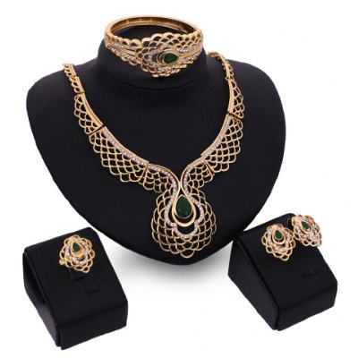 A Suit of Noble Water Drop Hollow Out Necklace Earrings Ring and Bracelet For Women