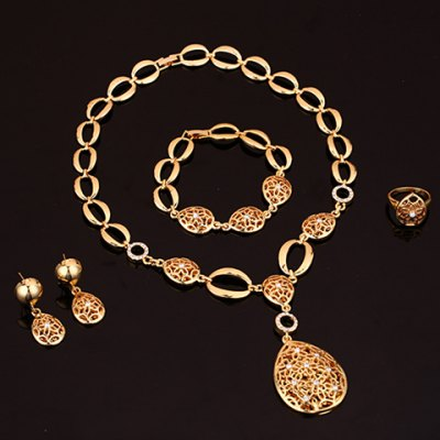 A Suit of Graceful Water Drop Hollow Out Necklace Earrings Ring and Bracelet For Women