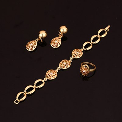 Фотография A Suit of Graceful Water Drop Hollow Out Necklace Earrings Ring and Bracelet For Women