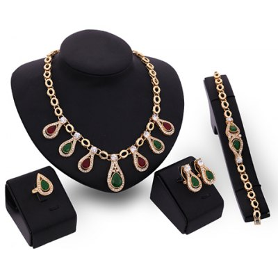 A Suit of Charming Rhinestoned Water Drop Necklace Earrings Ring and Bracelet For Women