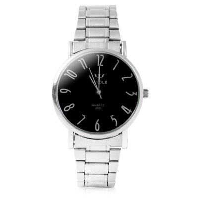 Yazole 299 Steel Band Men Quartz Watch - YazoleMens Watches<br>Yazole 299 Steel Band Men Quartz Watch<br><br>Brand: Yazole<br>Watches categories: Male table<br>Watch style: Business<br>Available color: Black, White<br>Movement type: Quartz watch<br>Shape of the dial: Round<br>Display type: Analog<br>Case material: Alloy<br>Band material: Stainless steel<br>Clasp type: Folding clasp with safety<br>Band color: Silver<br>Water resistance: Life water resistant<br>The dial thickness: 0.7 cm / 0.28 inches<br>The dial diameter: 3.8 cm / 1.49 inches<br>The band width: 1.8 cm / 0.71 inches<br>Product weight: 0.055 kg<br>Package weight: 0.115 kg<br>Product size (L x W x H): 26 x 3.8 x 0.7 cm / 10.22 x 1.49 x 0.28 inches<br>Package size (L x W x H): 27 x 4.8 x 1.7 cm / 10.61 x 1.89 x 0.67 inches<br>Package contents: 1 x Yazole 299 Men Quartz Watch