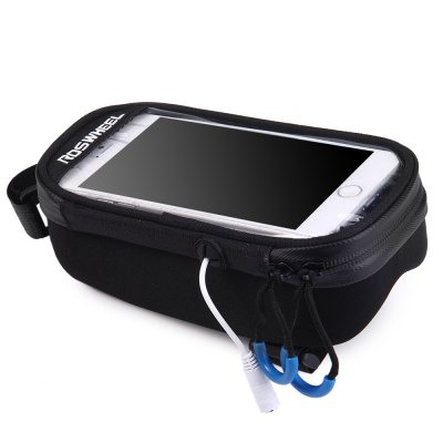 Roswheel Touch Screen Phone Bag - ROSWHEELBike Bags<br>Roswheel Touch Screen Phone Bag<br><br>Brand: Roswheel<br>Model Number: 121048<br>Suitable for: Cross-Country Cycling, Fixed Gear Bicycle, Touring Bicycle, Road Bike, Mountain Bicycle<br>Color: Black<br>Size: L, M<br>Emplacement: Front Tube<br>Product Weight: 0.105 kg<br>Package Weight: 0.240 kg<br>Package Dimension: 20 x 11 x 8 cm / 7.86 x 4.32 x 3.14 inches<br>Package Contents: 1 x Roswheel Touch Screen Bicycle Front Tube Phone Bag Holder Pouch, 1 x USB Cable, 1 x Power Bank, 1 x Earphone Extension Cord