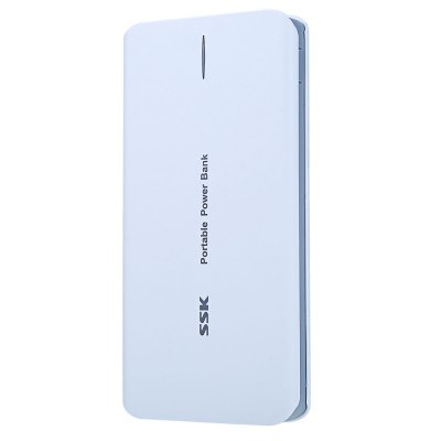 SSK SRBC527 Power BankPower Banks<br>SSK SRBC527 Power Bank<br><br>Type: Portable Mobile Powers<br>Model: SRBC527<br>Capacity (mAh): 3.7V / 10000mAh<br>Battery Brand: SSK<br>Battery Voltage: DC 5V +/- 0.25V<br>Battery Current: OUT1: 1000mA / OUT2: 2100mA<br>Special Functions: Super Slim<br>Connection Type: Two USB Output Interface<br>Battery type: Li-Polymer Battery<br>Color: White<br>Material: ABS<br>Charging time: 6 - 8H<br>Operating temperature: -10 - 45 deg.c<br>Product weight: 0.246 kg<br>Package weight: 0.340 kg<br>Product size (L x W x H) : 14.7 x 7.2 x 1.4 cm / 5.78 x 2.83 x 0.55 inches<br>Package size (L x W x H): 18.5 x 10 x 3.5 cm / 7.27 x 3.93 x 1.38 inches<br>Package Contents : 1 x SSK Power Bank SRBC527 10000mAh with High Capacity Battery Pack, 1 x USB Cable, 1 x Bilingual User Manual in English and Chinese