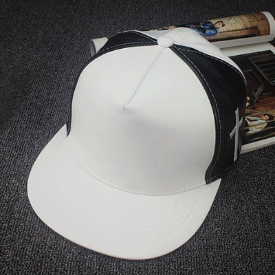 Stylish Cross Embroidery Color Matching PU Baseball Cap For Men