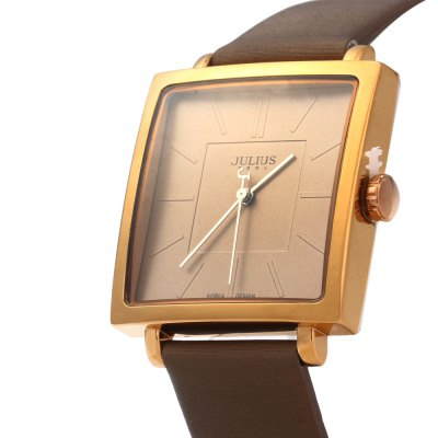 Julius JA - 354 Ultrathin Square Dial Analog Unisex Quartz WatchUnisex Watches<br>Julius JA - 354 Ultrathin Square Dial Analog Unisex Quartz Watch<br><br>Brand: Julius<br>People: Unisex table<br>Watch style: Fashion<br>Available color: Black,White,Brown,Gold<br>Shape of the dial: Square<br>Movement type: Quartz watch<br>Display type: Analog<br>Case material: Stainless Steel<br>Band material: Leather<br>Clasp type: Pin buckle<br>Water resistance : 30 meters<br>The dial thickness: 0.8 cm / 0.31 inches<br>The dial diameter: 3.4 cm / 1.34 inches<br>The band width: 1.9 cm / 0.75 inches<br>Wearable length: 17.5 - 21.5 cm / 6.89 - 8.46 inches<br>Product weight: 0.035 kg<br>Package weight: 0.153 kg<br>Product size (L x W x H): 24.00 x 3.40 x 0.80 cm / 9.45 x 1.34 x 0.31 inches<br>Package size (L x W x H): 25.00 x 4.40 x 1.80 cm / 9.84 x 1.73 x 0.71 inches<br>Package Contents: 1 x Julius JA - 354 Square Leather Unisex Quartz Watch