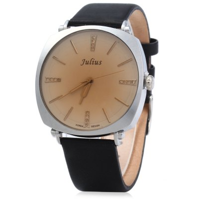 Julius JA - 388 Men Square Case Round Dial Quartz WatchCouples Watches<br>Julius JA - 388 Men Square Case Round Dial Quartz Watch<br><br>Brand: Julius<br>Watches categories: Male table<br>Watch style: Fashion<br>Movement type: Quartz watch<br>Shape of the dial: Round<br>Display type: Analog<br>Case material: Alloy<br>Case color: Gold,Silver<br>Band material: Leather<br>Clasp type: Pin buckle<br>Water resistance : 30 meters<br>The dial thickness: 0.7 cm / 0.28 inches<br>The dial diameter: 4 cm / 1.57 inches<br>The band width: 2 cm / 0.79 inches<br>Wearable length: 17.5 - 21.5 cm / 6.89 - 8.46 inches<br>Product weight: 0.040 kg<br>Package weight: 0.100 kg<br>Product size (L x W x H): 24.00 x 4.00 x 0.70 cm / 9.45 x 1.57 x 0.28 inches<br>Package size (L x W x H): 25.00 x 5.00 x 1.70 cm / 9.84 x 1.97 x 0.67 inches<br>Package Contents: 1 x Julius JA - 388 Men Leather Quartz Watch
