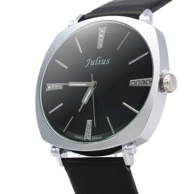 Julius JA - 388 Men Square Case Round Dial Quartz WatchJulius JA - 388 Men Square Case Round Dial Quartz Watch<br><br>Brand: Julius<br>Watches categories: Male table<br>Watch style: Fashion<br>Movement type: Quartz watch<br>Shape of the dial: Round<br>Display type: Analog<br>Case material: Alloy<br>Case color: Gold,Silver<br>Band material: Leather<br>Clasp type: Pin buckle<br>Water resistance : 30 meters<br>The dial thickness: 0.7 cm / 0.28 inches<br>The dial diameter: 4 cm / 1.57 inches<br>The band width: 2 cm / 0.79 inches<br>Wearable length: 17.5 - 21.5 cm / 6.89 - 8.46 inches<br>Product weight: 0.040 kg<br>Package weight: 0.100 kg<br>Product size (L x W x H): 24.00 x 4.00 x 0.70 cm / 9.45 x 1.57 x 0.28 inches<br>Package size (L x W x H): 25.00 x 5.00 x 1.70 cm / 9.84 x 1.97 x 0.67 inches<br>Package Contents: 1 x Julius JA - 388 Men Leather Quartz Watch